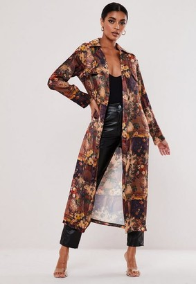 Missguided Brown Floral Print Satin Duster Jacket
