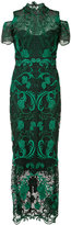 Marchesa rose embroidered dress - women - Nylon/Polyester - 14