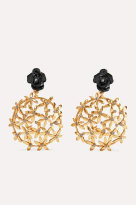 Oscar De La Renta Oscar de la Renta - Gold-tone, Resin And Crystal Clip Earrings