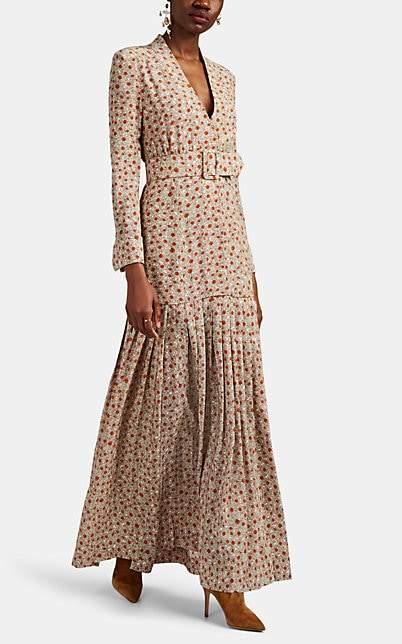 Rebecca De Ravenel Women's Daisy-Print Silk Crêpe De Chine Belted Shirtdress - Orange