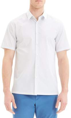 Theory Felix Slim Fit Dot Print Short Sleeve Button-Up Shirt