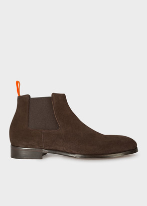 Paul Smith Men's Chocolate Brown Suede 'Crown' Chelsea Boots