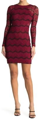 GUESS Lace Long Sleeve Mini Dress