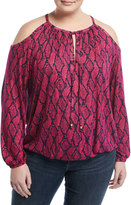 MICHAEL Michael Kors Mamba Snake-Print Peasant Top, Pink, Plus Size