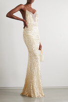 Thumbnail for your product : Galvan Hollywood Paillette-embellished Metallic Tulle Gown - White