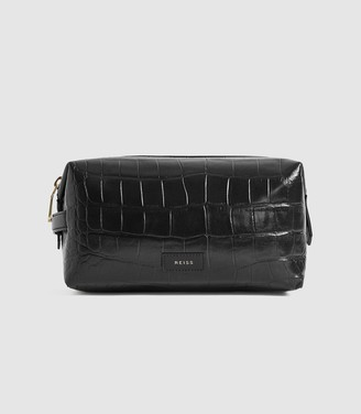 Reiss WARREN LEATHER CROC PATTERNED WASHBAG Black