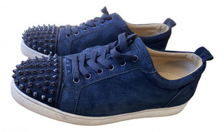 Christian Louboutin Louis junior spike Navy Suede Trainers