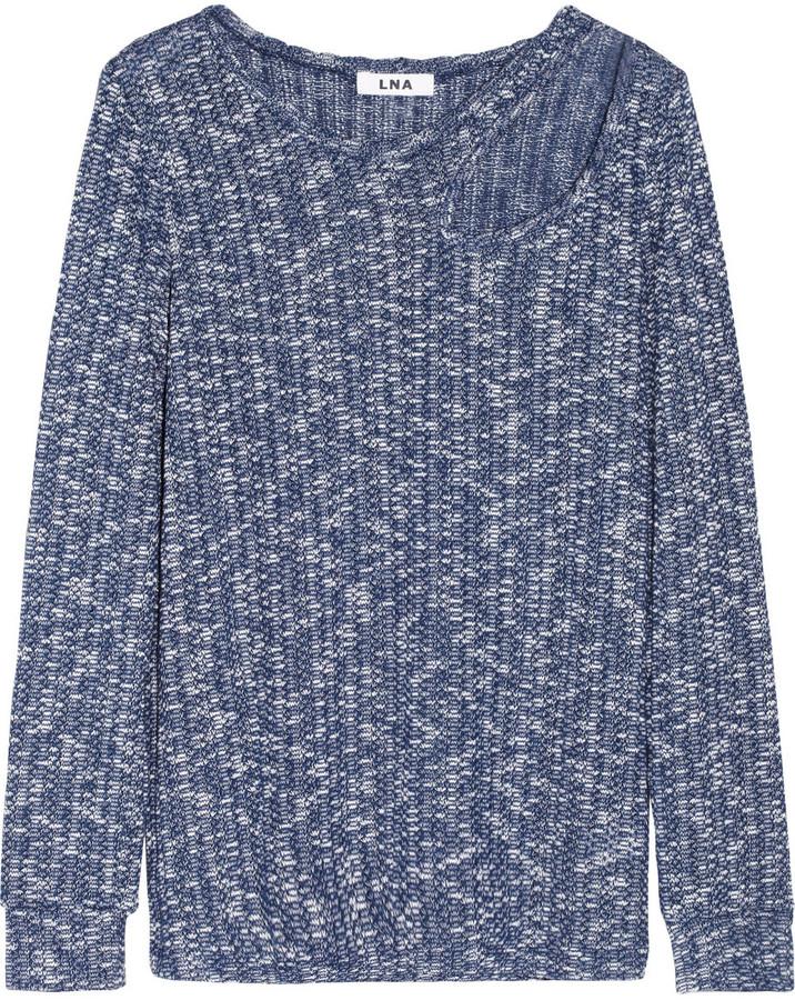 LnA Basin cutout crochet-knit cotton-blend sweater