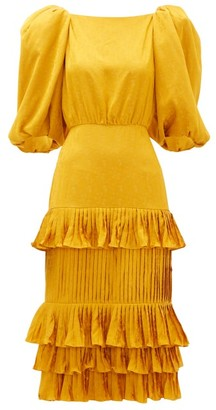 Johanna Ortiz Isolated Treasure Puff Sleeve Satin Dress - Womens - Yellow