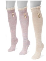 Muk Luks Women's 3 Pair Pack Lace Top Knee High Socks - Multicolor One Size