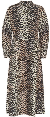 Ganni Leopard cotton midi dress