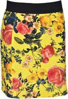 Fausto Puglisi Floral Print Skirt From Yellow Floral Print Skirt With Elasticated Waistband And Concealed Back Zip Fastening.