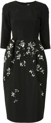 Carolina Herrera Floral Embellished Midi Dress
