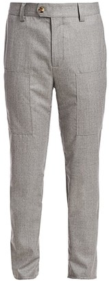 Brunello Cucinelli Para Heathered Wool Trousers