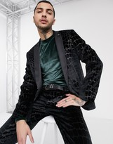 Twisted Tailor suit jacket with flock croc print in black