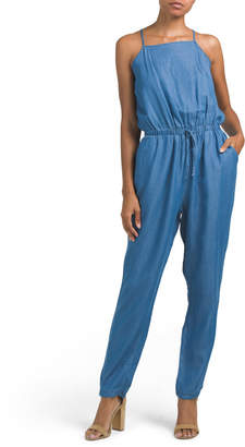 Juniors Chambray Jumpsuit With Tie Waist