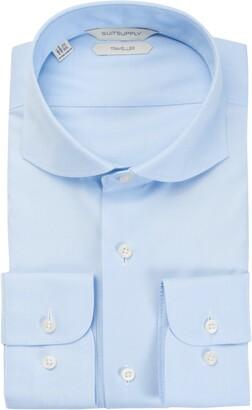 Suitsupply Traveler Slim Fit Blue Button-Up Dress Shirt
