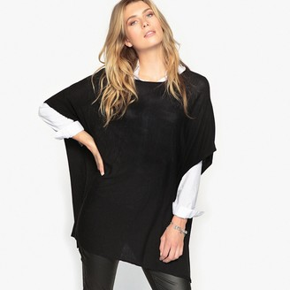 Anne Weyburn Poncho Jumper with Ribbed Sleeves