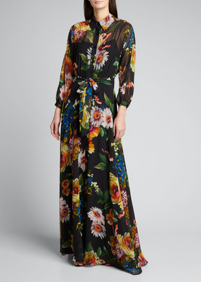 Rickie Freeman For Teri Jon Floral Print Long-Sleeve Chiffon Shirtdress