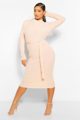 boohoo Plus Rib High Neck Belted Midi Dress