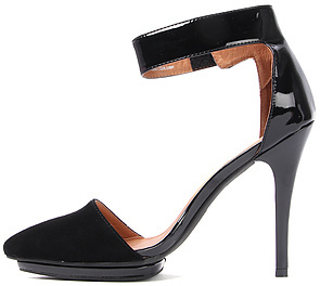 Jeffrey Campbell The Solitare Shoe in Black Suede and Black Patent