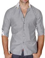 191 Unlimited Men's Grey Striped White Collar Woven Shirt