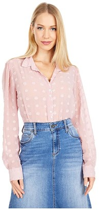 KUT from the Kloth Billa Button-Down Shirt with Long Sleeve (Rose) Women's Clothing