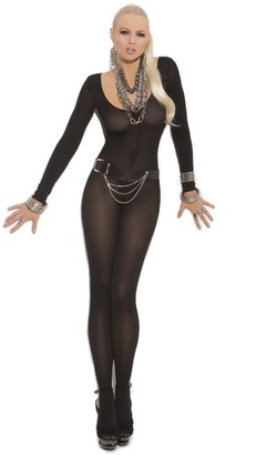 Elegant Moments Women's Opaque Long Sleeve Bodystocking with Open Crotch