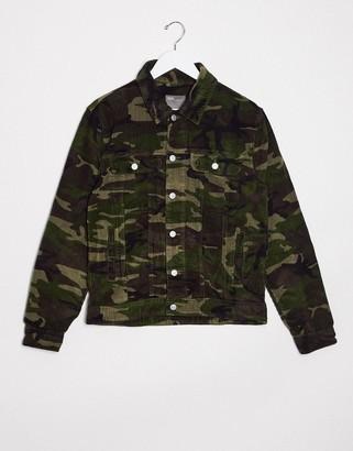 ASOS DESIGN cord western jacket in camo print