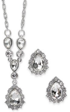 "Charter Club Silver-Tone Crystal Pendant Y-Necklace & Stud Earrings Boxed Set, 17"" + 2"" extender, Created for Macy's"