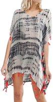 Futurino Women's Abstract Print Tassel Beach Swimsuit Summer Cover Ups S