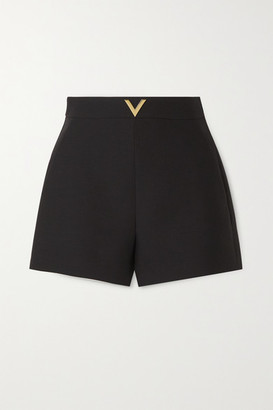 Valentino Embellished Wool And Silk-blend Shorts - Black