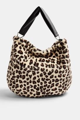 Topshop Leopard Print Faux Fur Hobo Bag