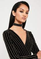 Missguided Black Plain Stud Choker Necklace