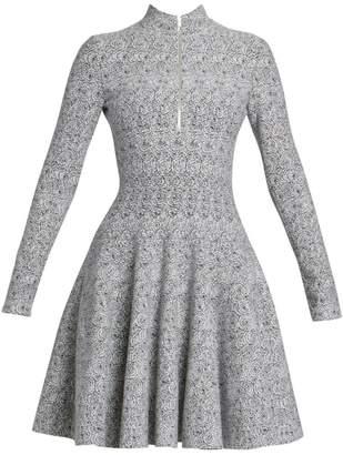 Alaia Spider Wool-Blend Knit Long-Sleeve Zip A-Line Dress