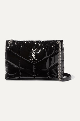 Saint Laurent Loulou Quilted Patent-leather Shoulder Bag - Black