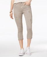Vanilla Star Juniors' Cropped Rip and Repair Colored Skinny Jeans