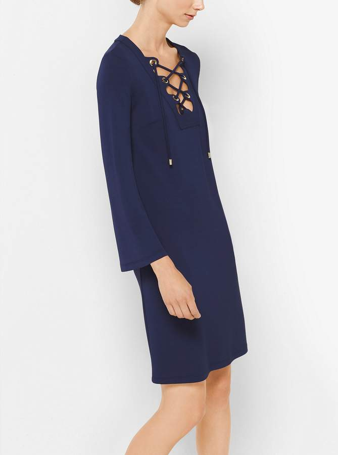 Michael Kors Lace-Up Stretch Matte-Jersey Dress