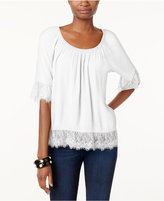 INC International Concepts Lace-Trim Peasant Top, Only at Macy's