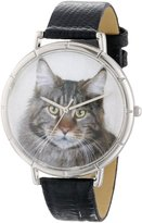 Whimsical Watches Women's T0120051 Maine Coon Cat Black Leather And Silvertone Photo Watch