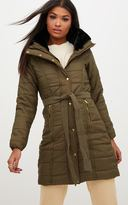 PrettyLittleThing Nude Longline Belted Puffer Coat