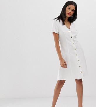 Vero Moda Tall button through tea dress-White