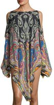 Etro Cold-Shoulder Printed Coverup Poncho