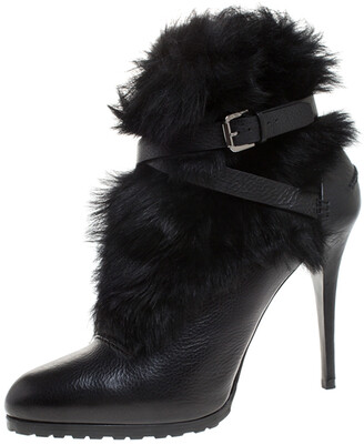 Ralph Lauren Black Leather and Faux Fur Vivian Ankle Boots Size 40