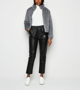 New Look Coated Leather-Look Joggers