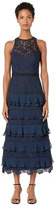ML Monique Lhuillier Ruffled Tier Lace Dress (Navy) Women's Dress