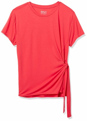 Andrew Marc Women's Short Sleeve Tie Front Shirt