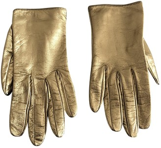 Gucci Gold Leather Gloves