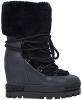 Casadei 120mm Shearling & Leather Lace-Up Boots