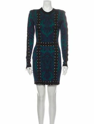 Balmain Patterned Mini Dress w/ Tags Green